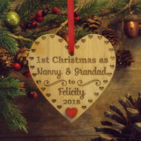1st First Christmas as Nanny & Grandad Personalised Heart Decoration Gift